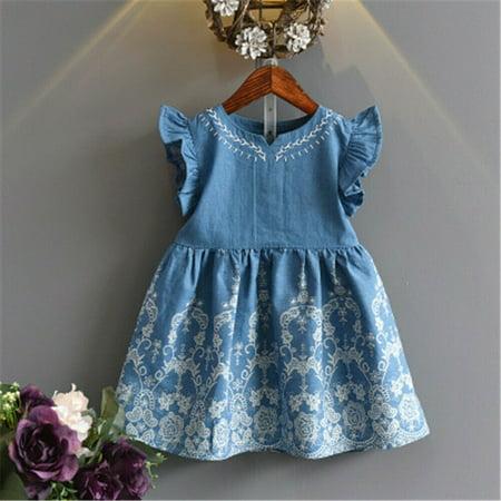 Summer Toddler Baby Girls Party Dress Denim Sleeveless Princess Sundress Clothes Age 2-11