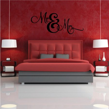 Mr & Mrs Wedding Quote Wall Decal - Vinyl Decal - Car Decal - Vd030 - 36 Inches