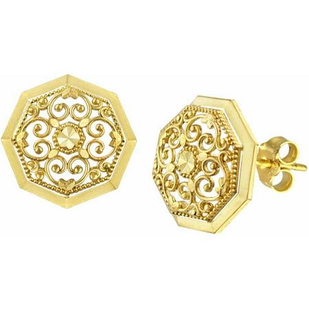 Filigree Hanging Earrings (10kt Gold Round Filigree Stud Earrings )