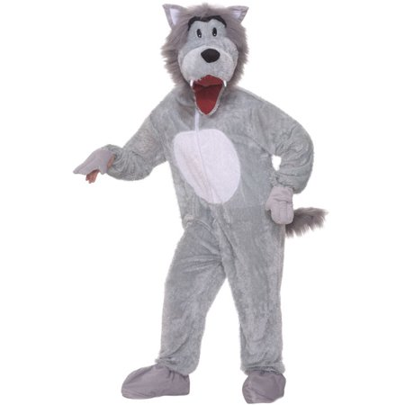 Grey Wolf Mascot Adult Halloween Costume, Size: Men's - One Size