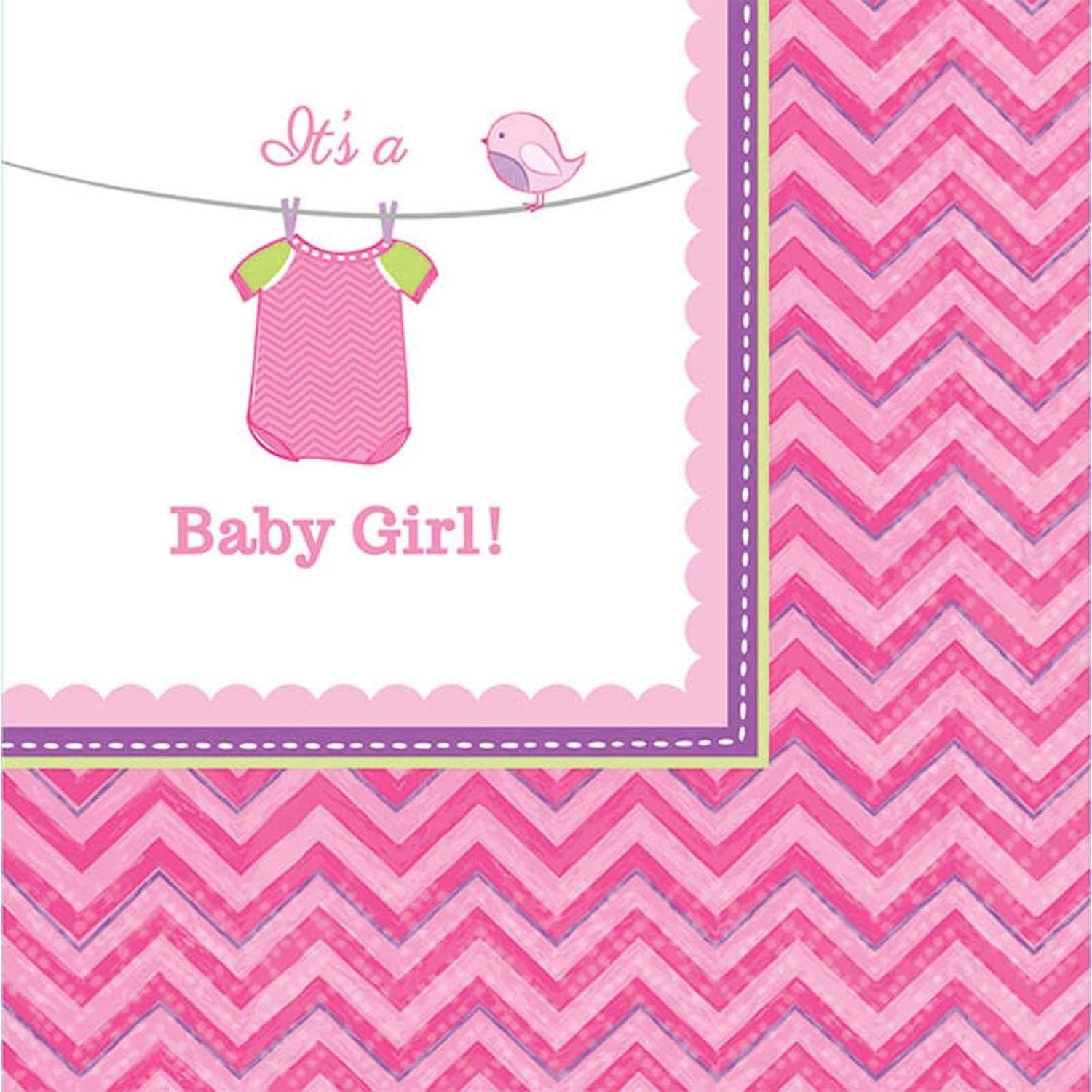 Baby Shower Girl Shower with Love Beverage Napkins, Pack of 16 by Generic