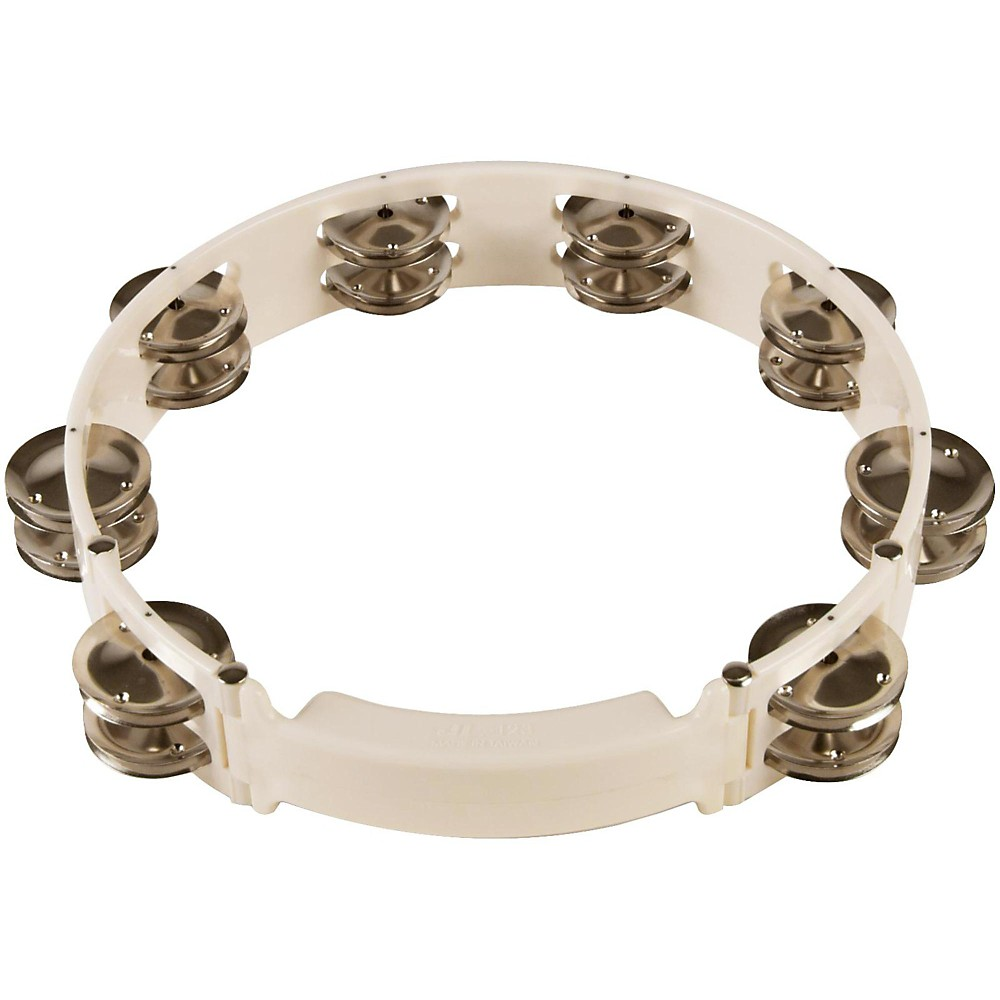 Sound Percussion Labs Baja Percussion Shape Shifter Tambourine with Double Row Steel Jingles White