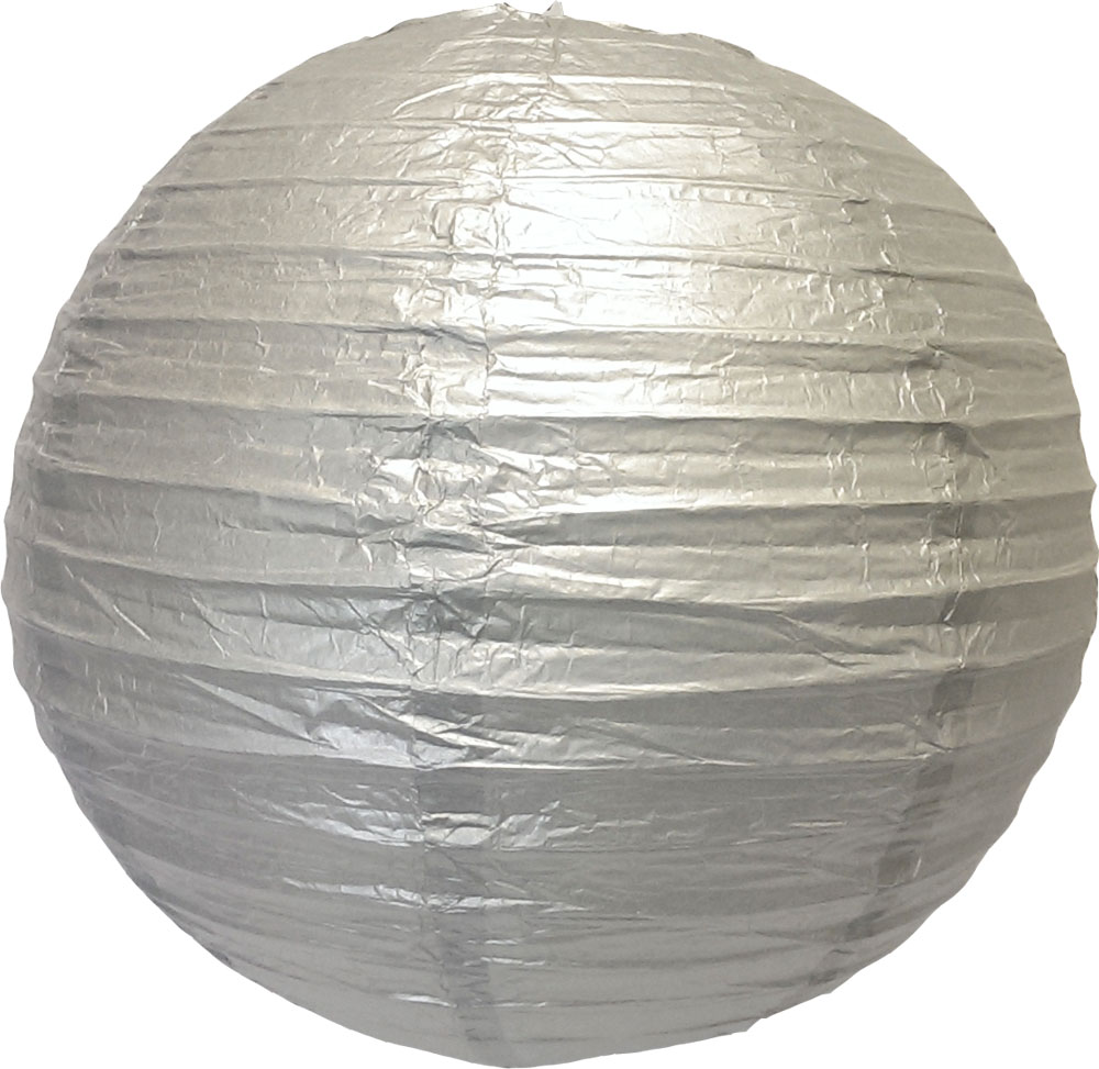 "16"" Silver Round Paper Lantern, Even Ribbing, Hanging (Light Not Included)"