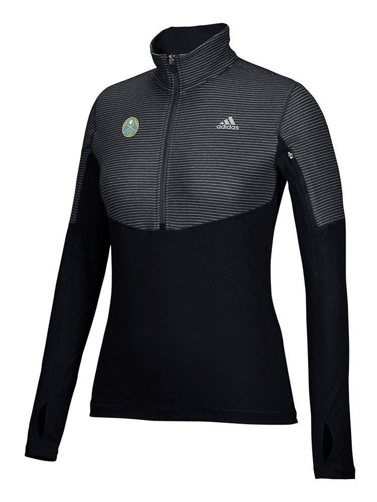 Denver Nuggets NBA Adidas Black Lightweight Climalite Performance Half Zip Team Logo Pullover Jacket For Women (S) by Adidas
