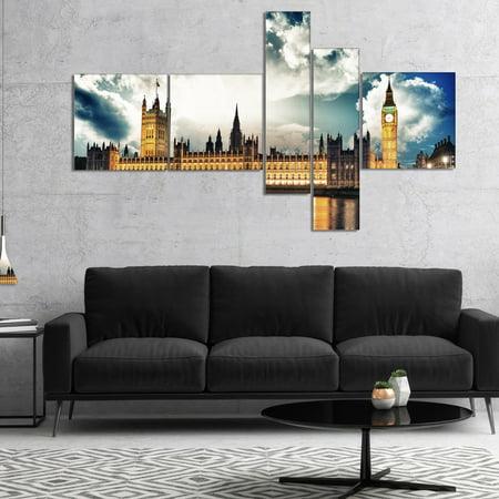 DESIGN ART Designart 'Big Ben UK and House of Parliament' Extra Large Canvas Art Print - Gold - Parliament Extra Lights