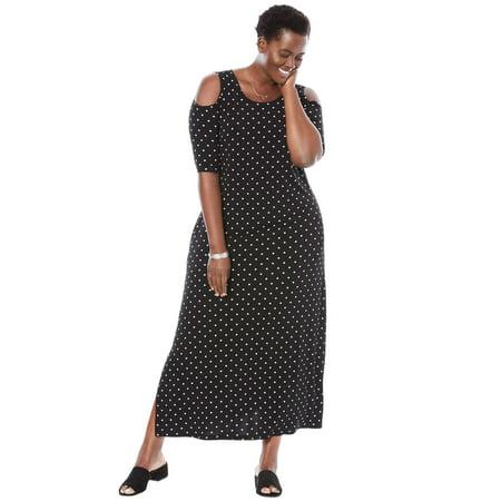 Woman Within - Plus Size Cold-shoulder A-line Maxi Dress - Walmart.com