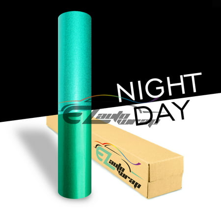 Ezautowrap Green Night Reflective Vinyl Wrap Sticker Decal Graphic Sign Self Adhesive Film Roll For Car Vehicle Boat Truck Trailer Rv Motorcycle Bike Road Sign Party Club Decoration