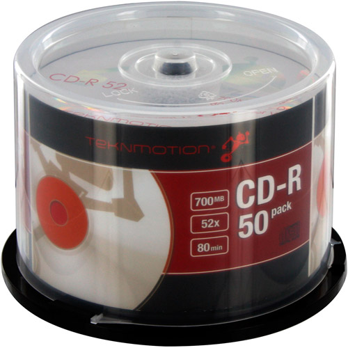 TekNmotion TM-BCDR50 CD-R 52x Discs, White/Red