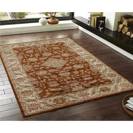 Cotton Silk Rug (Silk Rug Traditional Persian Floral Brown/ Green/ Red Faux  Carpet (3' x)