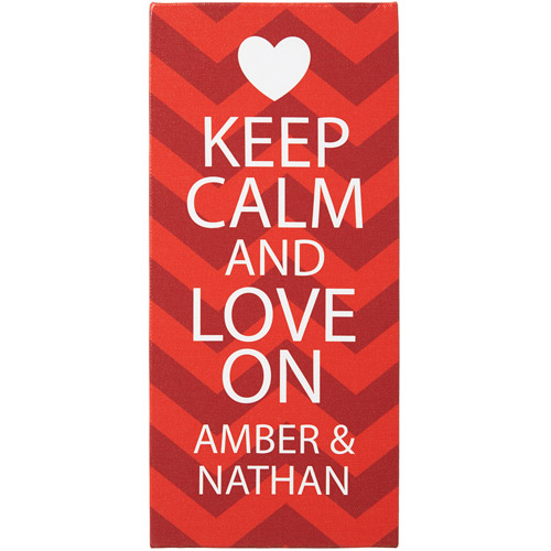 "Personalized 5"" x 11"" ""Keep Calm and Love On"" Canvas"