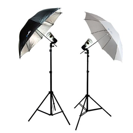 Loadstone Studio Photo Video Studio Flash light Umbrella Kit 1 x Reflector Umbrella 1 x Diffuser Umbrella 2 x Light Stand with Light & Umbrella Holder Clamp, 2 x 45 - Studio Flashlight