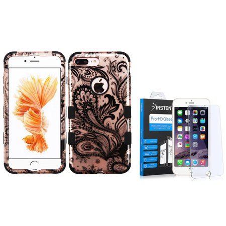Insten for iPhone 7 Plus - Tempered Glass Protector + Tuff Phoenix Flower Hard 3-Layer Hybrid Case - Rose Gold/Black