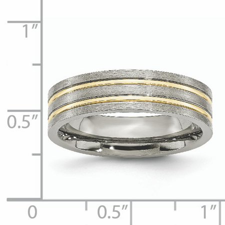 Titanium Grooved Yellow Plated 6mm Brushed Wedding Ring Band Size 12.50 Fashion Jewelry For Women Gifts For Her - image 9 de 10