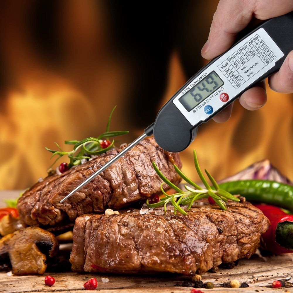 Instant Read Digital BBQ Grill Thermometer Meat Food Kitchen Thermometer w/ Probe Black