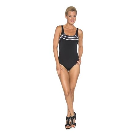 Chlorine Resistant TOGS Black Spliced One Piece Swimsuit Size (Chlorine Resistant Swim Suits)