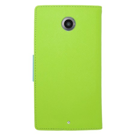 Insten Wallet Leather Stand Case with Lanyard & Card slot For Motorola Google Nexus 6 - Green/Light Blue - image 1 de 4