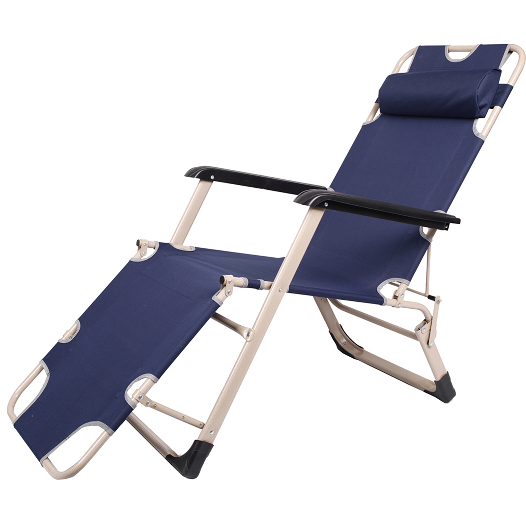 Karmas Product Folding Reclining Armchair Outdoor Patio Beach Chaise Lounge Chair with Pillow,Large