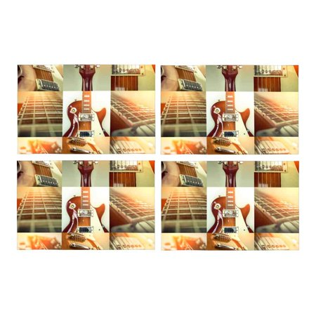 MKHERT Collage of Rock Guitar Popular Musical Instrumet Placemats Table Mats for Dining Room Kitchen Table Decoration 12x18 inch,Set of 4 (Guitar Table Decorations)