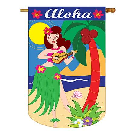 Aloha Girl Summer - Seasonal Applique Decorative Vertical House Flag