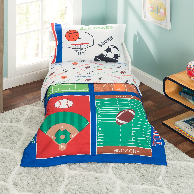 Everyday Kids 4 Piece Toddler Bedding Set - Varsity Sports