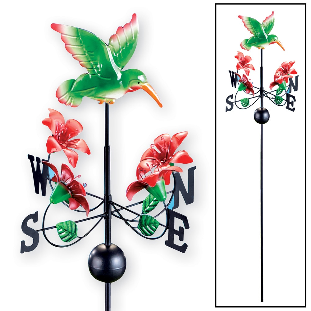 Hummingbird And Flowers Weathervane Stake, Green by Collections Etc