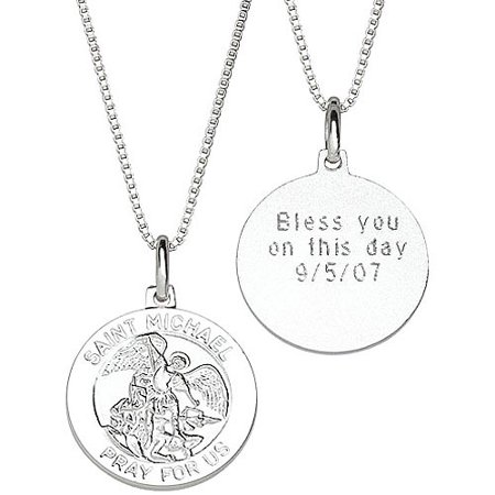 Personalized sterling silver st michael engraved medal pendant personalized sterling silver st michael engraved medal pendant aloadofball Gallery