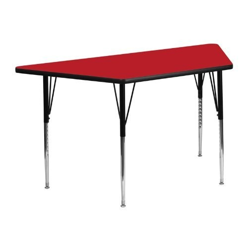 Flash Furniture 24''W x 48''L Trapezoid Activity Table with 1.25'' Thick High Pressure Red Laminate Top and... by Flash Furniture