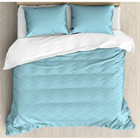 Argyle Bedding Sets (Vintage Blue Queen Size Duvet Cover Set, Classical Argyle Pattern Striped Checkered Traditional Old Fashioned, Decorative 3 Piece Bedding Set with 2 Pillow Shams, Baby Blue and White, by Ambesonne )