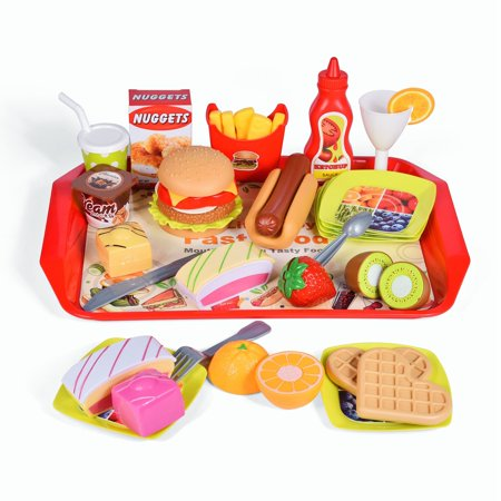 40 PCs Pretend Play Kitchen Fast Food Playset Toys with Hamburger, Hotdog, Tasty desserts, Heart-shaped waffles, Tomato Ketchup, French Fries, Fresh Fruits F-259
