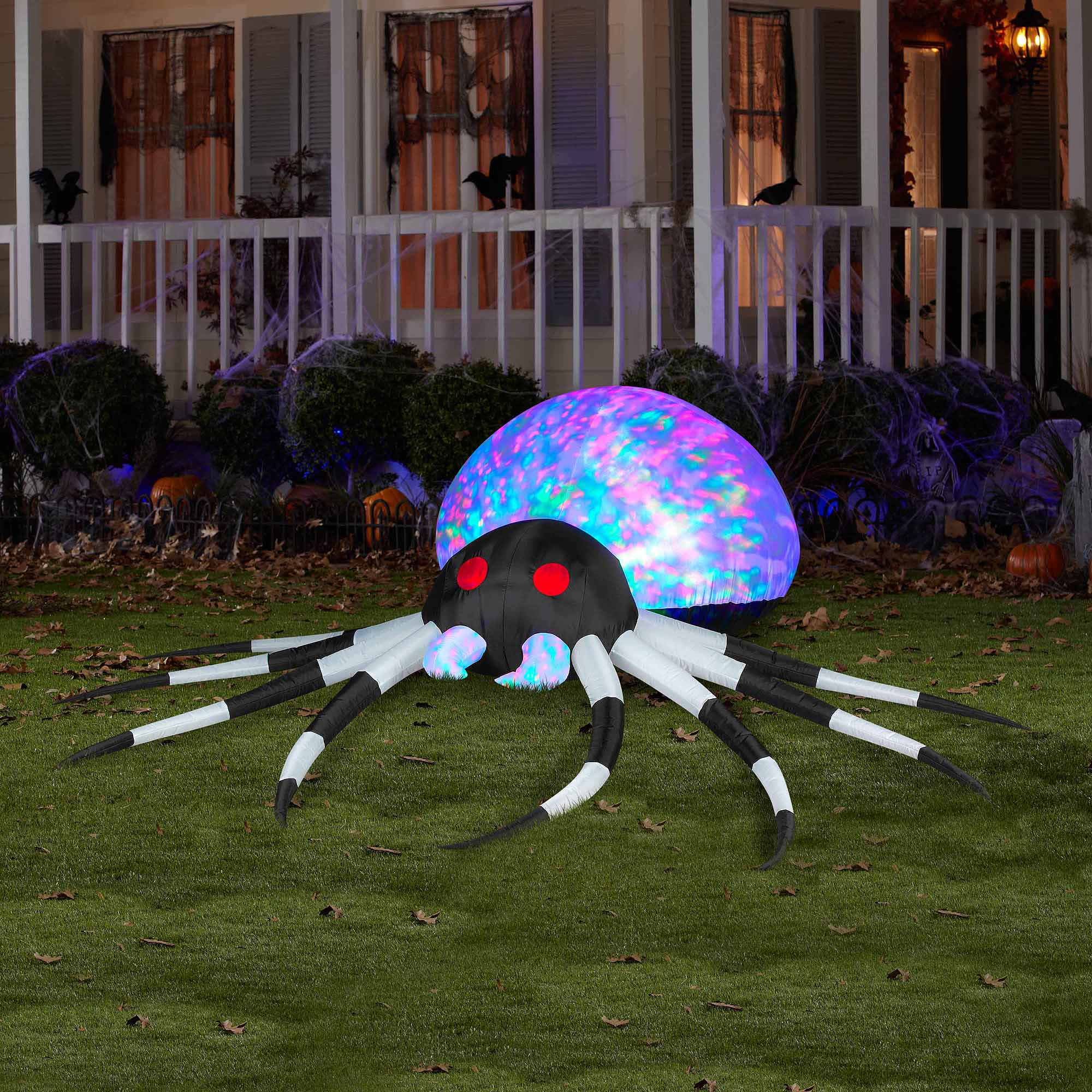 3 Projection Airblown Inflatables Kaleidoscope Black White Spider