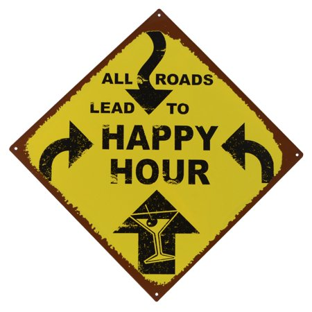 All Roads to HAPPY HOUR Rustic Metal Sign Man Cave Bar Pub Wall Pool Party Decor](Bar Sign)