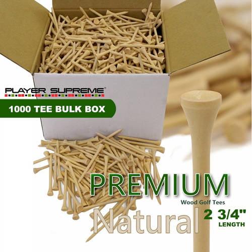 """Player Supreme PREMIUM 1000 Tee Bulk Box 2-3/4"""" Golf Tees, Natural"""