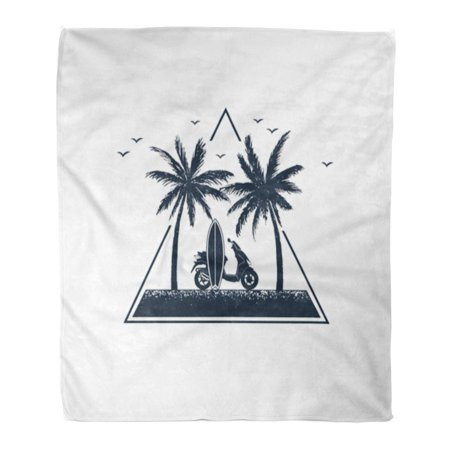 POGLIP Throw Blanket 58x80 Inches Beach Travel Badge with Palm Trees and Scooter Silhouette Sketch Tattoo Adventure Warm Flannel Soft Blanket for Couch Sofa Bed - image 1 de 1