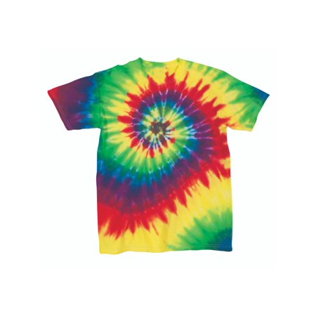 Rainbow Swirly Multi-Spiral Unisex Adult Tie Dye T-Shirt Tee - Rainbow Tube Top