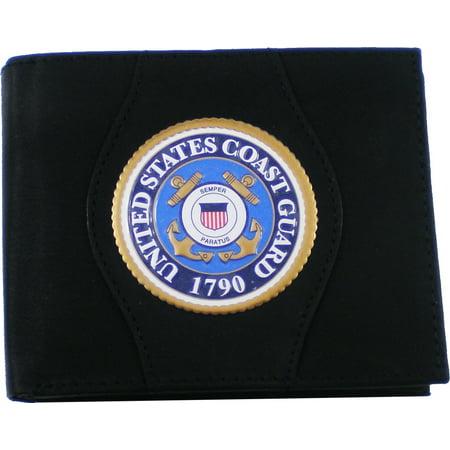 US Honor Coast Guard Logo Round Metal Badge Mens Leather Wallet [Black]