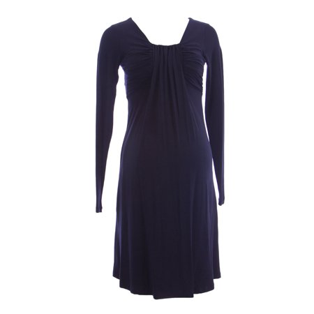 OLIAN Maternity Women's Navy Ruched Front Accent Long Sleeve Dress