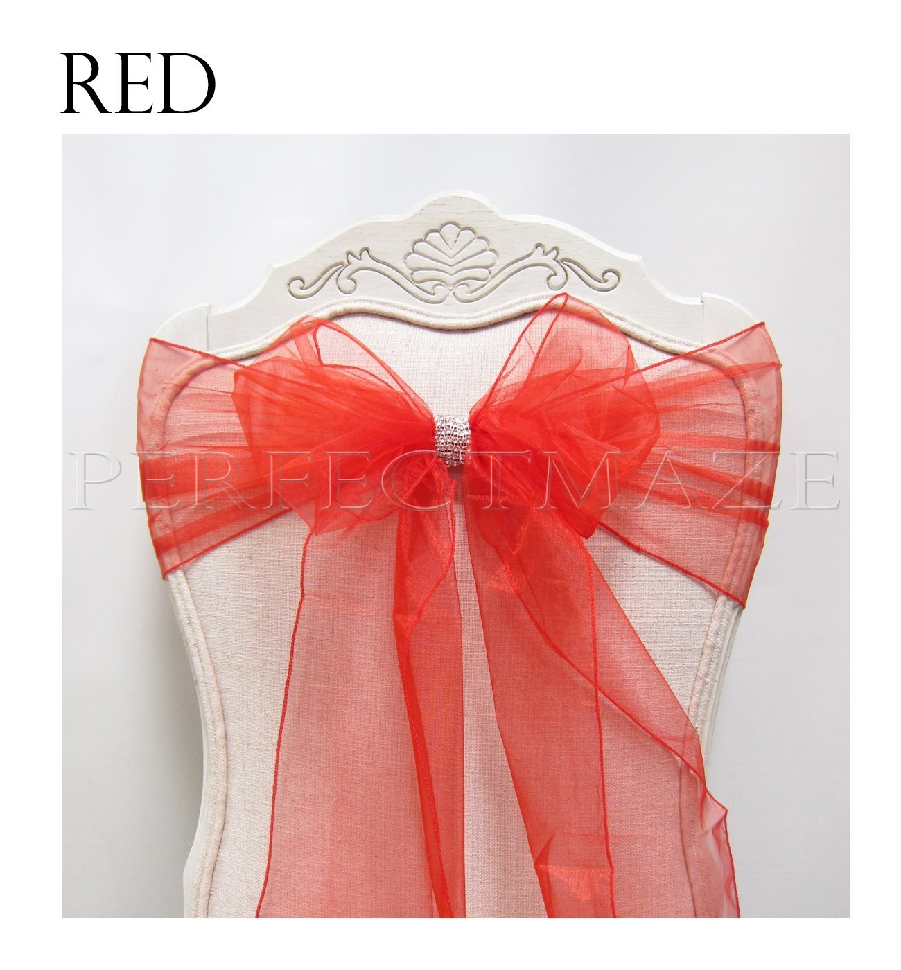Perfectmaze 100 Piece 8 x 108 Inch Red Organza Chair Sash Bow Cover for Wedding, Party, Engagements, Formal Events Decoration