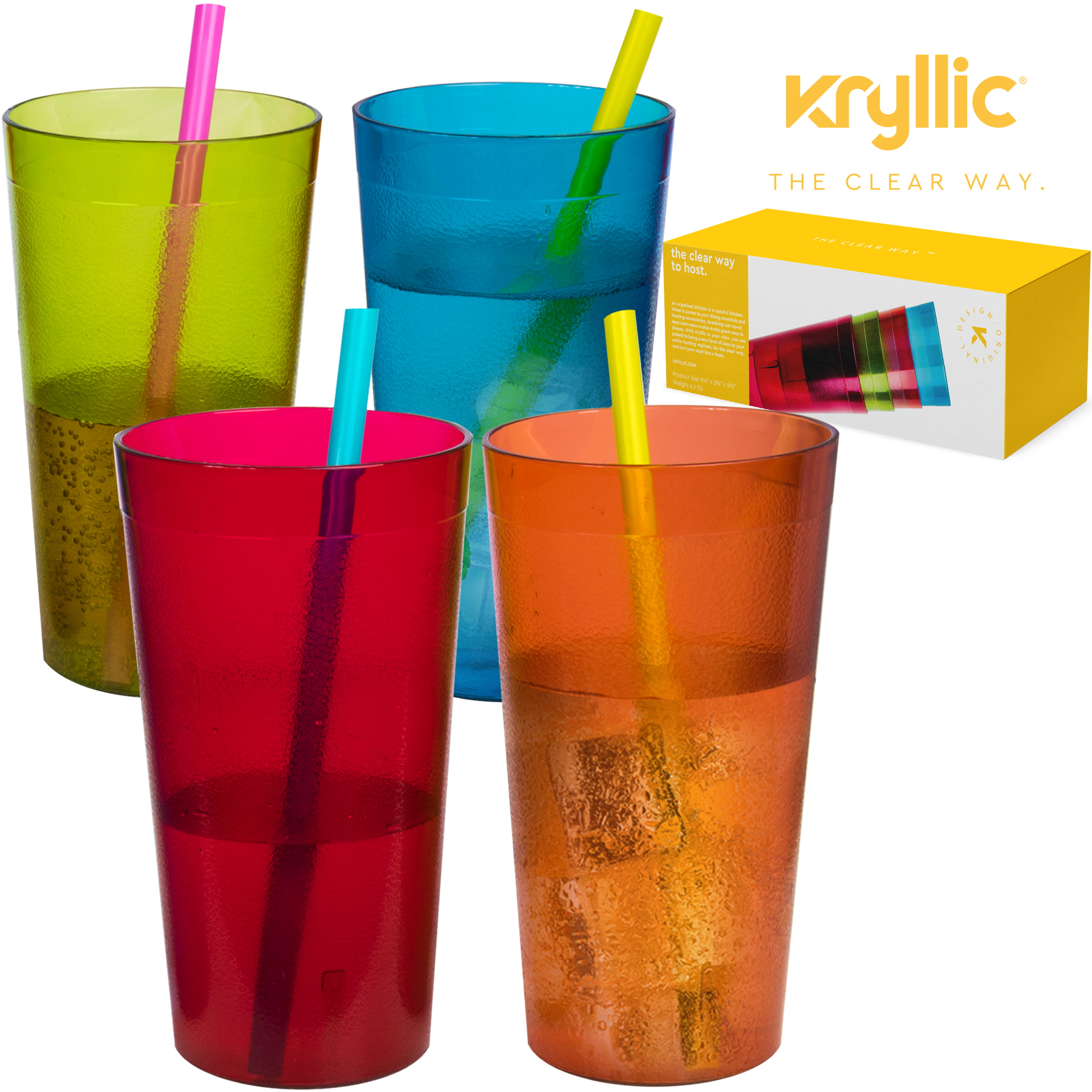 7ef4628d778 Reusable Plastic Cup Drinkware Tumblers - 4 Assorted colors break resistant 20  oz dishwasher safe drinking stacking water glasses cups! great decorations  ...