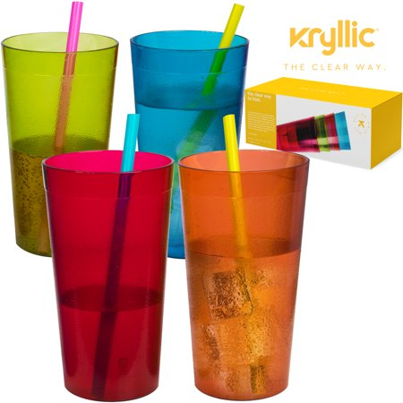 Plastic Tumblers Dishwasher Safe Water Drinking Glasses Reusable Cups Acrylic Tumblers Break Resistant 20- Ounce Tumbler Set of 16 in 4 Assorted Colors Best Gift Idea by (Best Gifts Under 500)