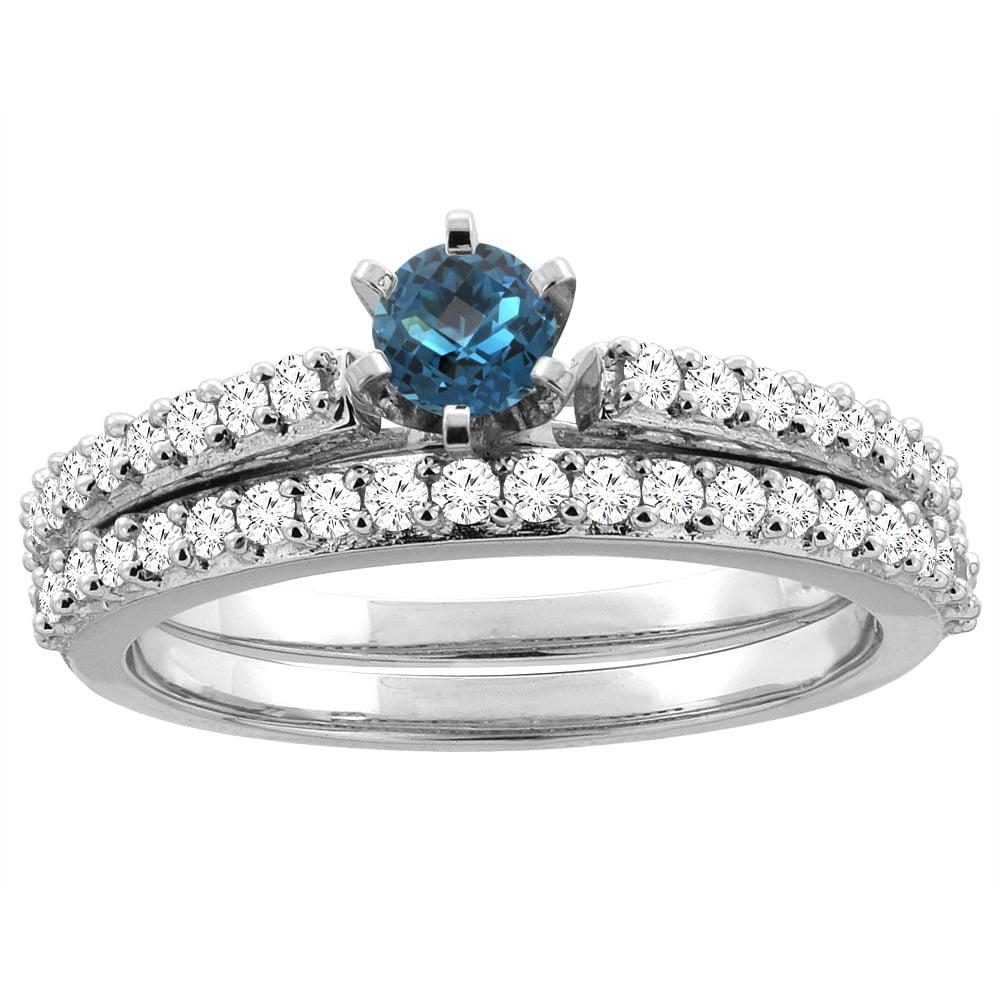 10K White Gold Natural London Blue Topaz 2-piece Bridal Ring Set Round 4mm, size 5.5 by Gabriella Gold