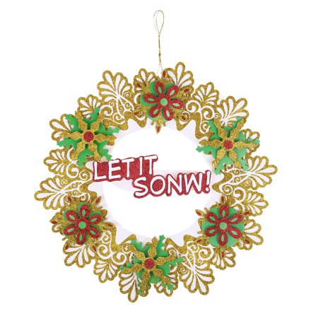 1 PC 35 cm Christmas Holiday Paper Wreath Door Ornament Garland (35 Cm Natural)