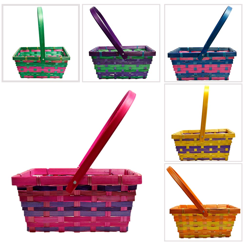 Folding Handle Rectangular Easter Basket
