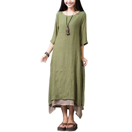 Women Casual Maxi Dress Vintage Chinese Style Loose Boho Long Dress for $<!---->