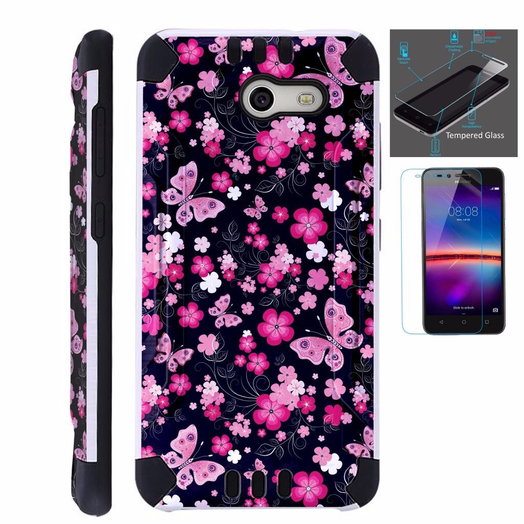 For Alcatel Kora Case + Tempered Glass Screen Protector / Slim Dual Layer Brushed Texture Armor Hybrid TPU KomBatGuard Phone Cover (Pink Butterfly)