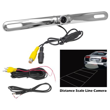 Metal Chrome License Plate Camera (Pyle License Plate Mount Rear View Backup Color Camera w/ Distance Scale Line