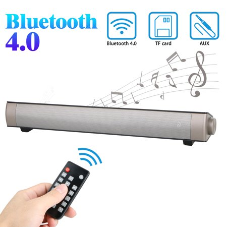 Bluetooth Sound Bar Speaker, Bluetooth 4.0 Wireless Speakers with Remote Control for Home Theater Surround Sound with Built-in Subwoofers for TV/PC/Phones/Tablets ()
