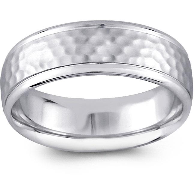 Precious Stars SEBF0002065095 14k White Gold Mens 6. 5 mm.  Hammered Design Comfort Fit Wedding Band