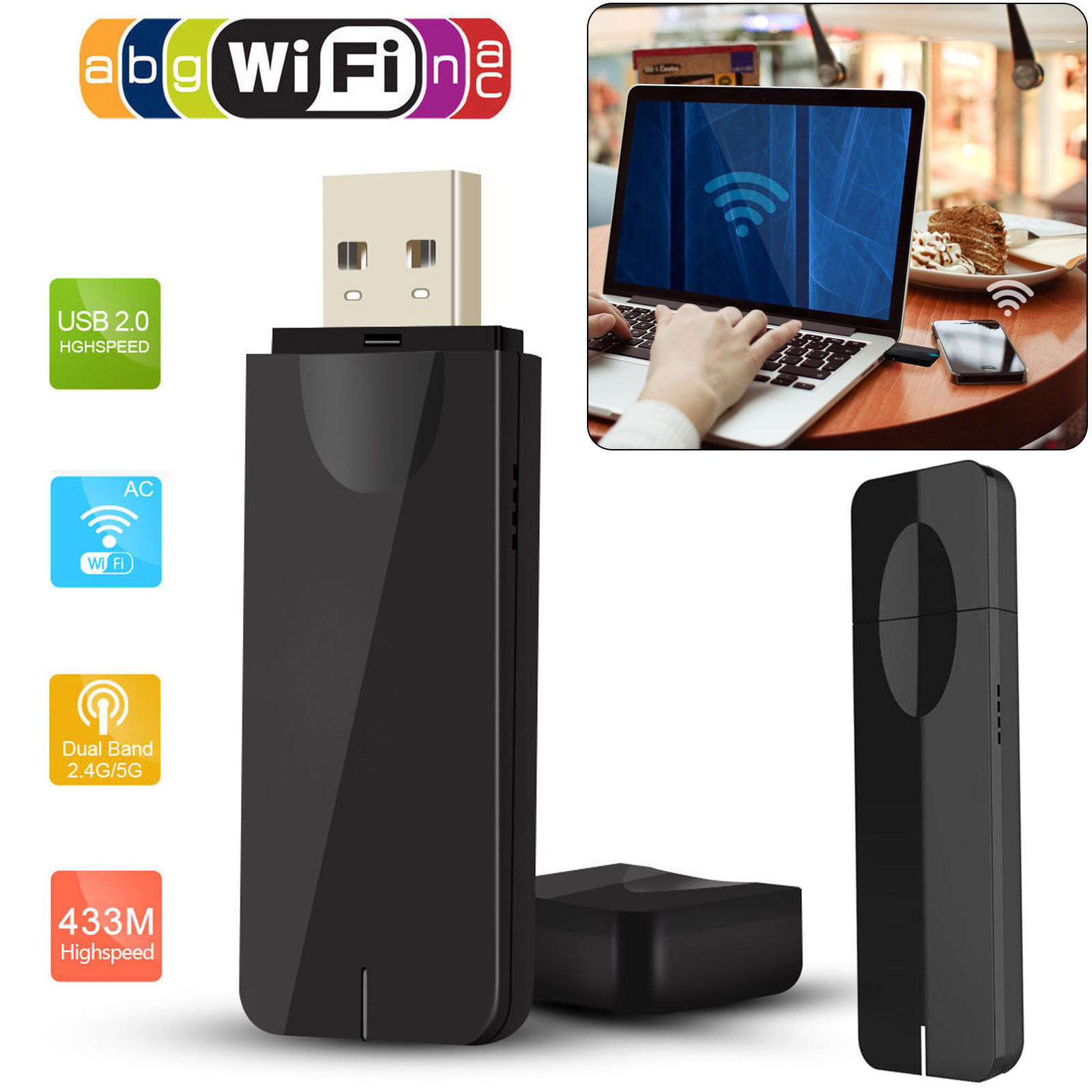 EEEKit 5GHz 433Mbps/2.4GHz 150Mbps Mini Wireless Dual Band WIFI USB Adapter Internet Network Dongle for PC Laptop