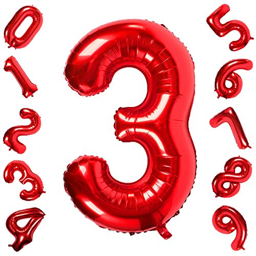 40 Inch Giant Red Number 3 Balloon Foil Helium Digital