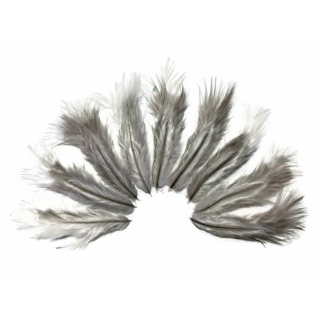 Feather Boas By The Dozen (1 Dozen - Solid Grey Rooster Chickabou Fluff Mini)